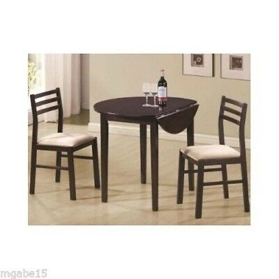 DINING ROOM SET Small Table 2 Chair Kitchen Round Furniture SOLID WOOD Drop Leaf
