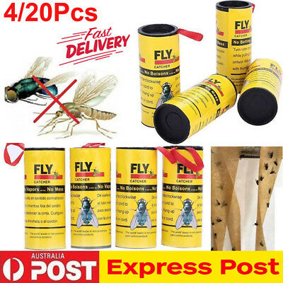 20 Rolls Fly Paper Strong Sticky Glue Insect Bug Catcher Roll Tape Trap Strip AU