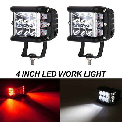 2PC 4'' LED Kubus Arbeitsscheinwerfer Cubes Offroad PKW SUV KFZ Pickup Truck Rot