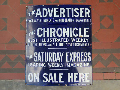 THE ADVERTISER THE CHRONICLE THE SATURDAY EXPRESS ENAMEL SIGN c1920s ADELAIDE