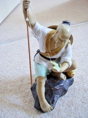 Chinese  clay-pottery mudman-Fish man figure -ornament,big,with fish