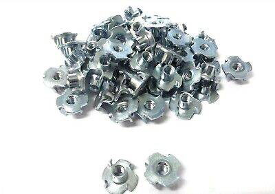 M4 x 5.7mm Tee nuts. Four pronged. Captive Nut. Wood. Pack of 50. *Top Quality!