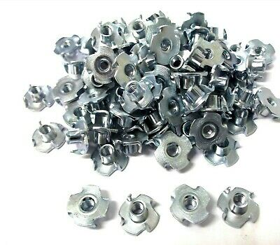 M4 x 5.7mm Tee nuts. Four pronged. Captive Nut. Wood. Pack of 100. *Top Quality!