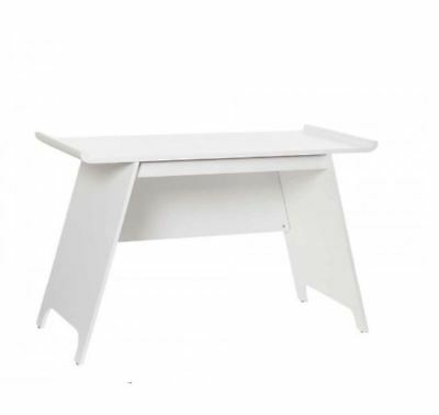 White Sturdy Office Desk Trestle Curved Console Table Wooden Modern Furniture