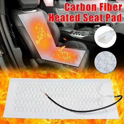 2/4Pcs 12V Universal Car Warm Seat Cushion Carbon Fiber Heated Heater Pad Kit