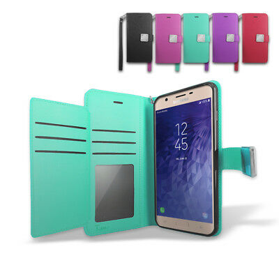 For Samsung Galaxy J7 Star/ J3 Star Double Wallet Leather Fold Stand Case Cover