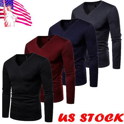 Fashion Men's Autumn Slim Fit V Neck Long Sleeve Muscle Tee T-shirt Casual Tops