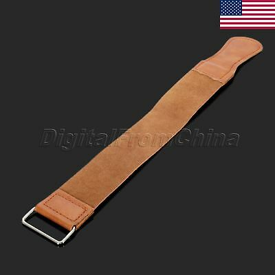 US STOCK Razor Sharpener Strap Genuine Leather Straight Strop Pro Barber Shaving