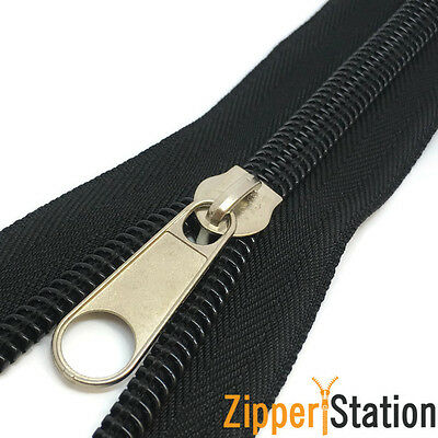 Continuous Black Nylon Coil #10 Zip, N10 Heavy Duty zipper with standard pull