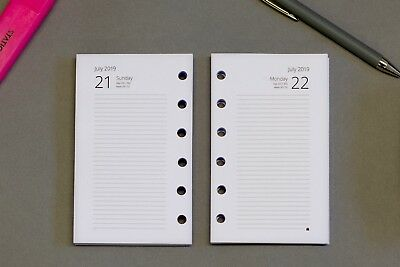 2019 Pocket Size Refill Inserts 1-Day-per–Page | Fits Filofax | Start Any Month!
