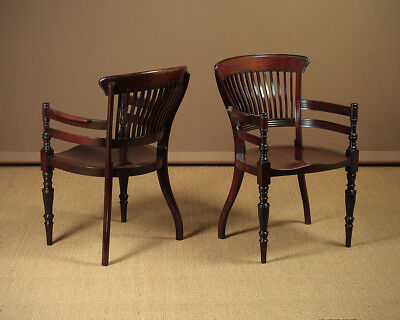 Pair of Antique Edwardian Mahogany Office Armchairs c.1905.