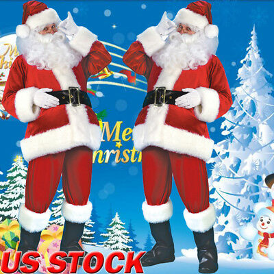 7 PCS Christmas Santa Claus Costume Fancy Dress Adult Suit Cosplay Party Outfits