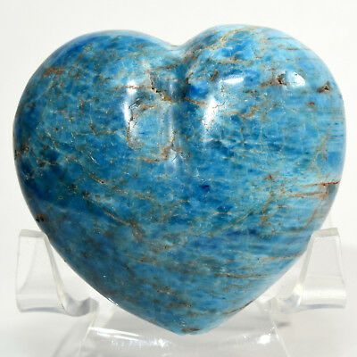 55mm Neon Blue Apatite Heart Sparkling Crystal Natural Quartz Mineral Madagascar