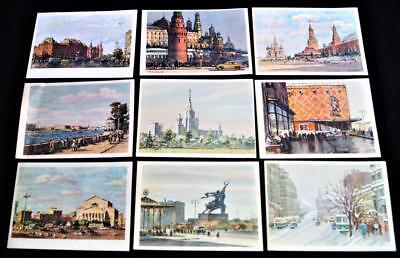 Lot Of 9 Moscow Ussr Soviet Union Russia Artwork City Scene Postcards 1961