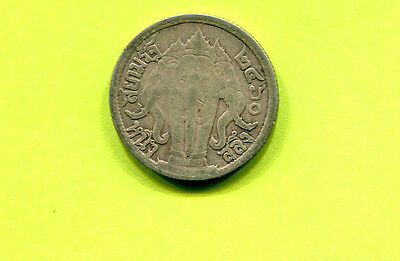 Thailand 1 Salung 1/4 Baht 1917 Silver World Coin King Rama VI Thai Elephant