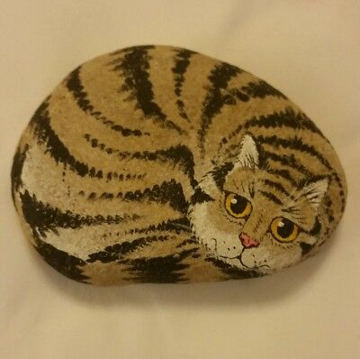 Vintage 1989 Mike Dolingter Or Dolinger Hand Painted Stone Cat Paperweight