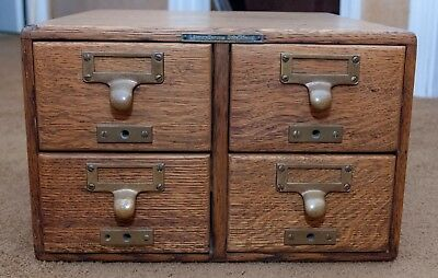 Vintage Wood Card Catalog 4 Drawer Cabinet - Dove Tailed
