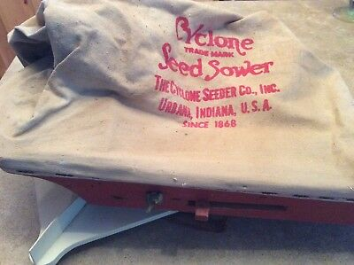 Antique Cyclone Seed Hand Crank  Spreader Sower Original label on bottom - Farm