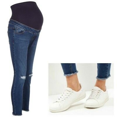 Maternity New Look Over Bump Skinny Ripped Jeans Blue Sizes 10 - 16 NEW STOCK