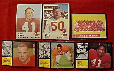 VINTAGE ST. LOUIS CARDINALS FOOTBALL CARDS LOT of 6 - 1961 Fleer & 1962 Topps ex