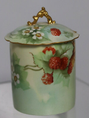 Antique Limoges France Condense milk Jam  Container Hand Painted Raspberries