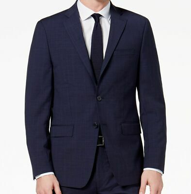$759 Calvin Klein Men'S Blue Plaid Wool Slim Fit Jacket Blazer Sport Coat 42 R