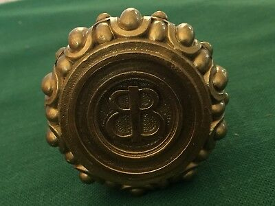 Rare Antique emblematic Cast Bronze door Knob - P-40520 Baskin Brothers Jewelers
