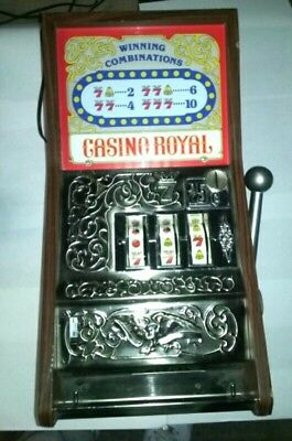 Vintage Casino Royal Slot Machine Style Game Table Top Coin Operated Lever Pull