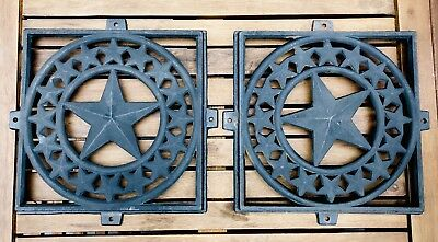 TWO Antique Texas Star Cast Iron Architectural Wall Grates