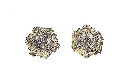 VINTAGE SIGNED TRIFARI 1970s Mid Century Modern Silver Plated Spangle Earrings