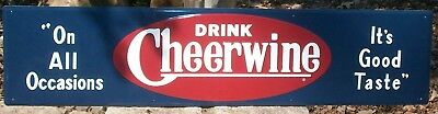 Large Vintage Cheerwine Soda Bench Sign Embossed 11 x 48