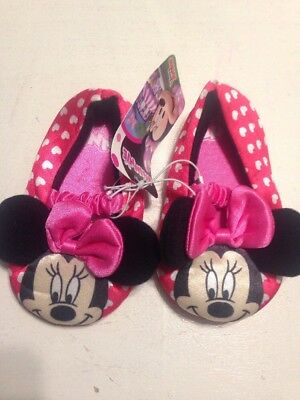 NEW Toddler Girls Slippers Medium 7-8 Disney Pink Minnie Mouse Soft House Shoes