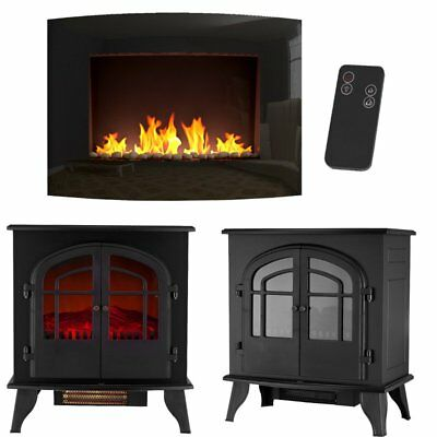 Electric Heaters Free Standing  Fireplace Glass Heater Fire Wall Mounted Home UK