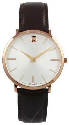Movado Ultra Slim Silver Dial Brown Leather Quartz 40MM Men's Watch 0607089