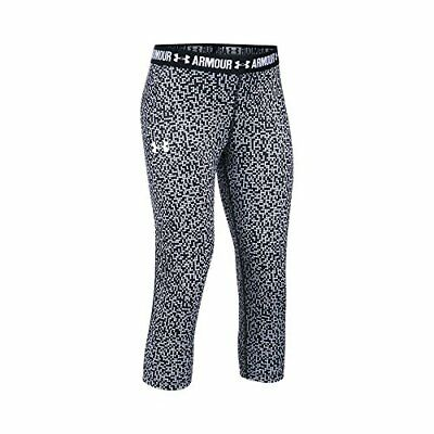 $34.99 Under Armour UA Girls Capri Leggings Heatgear 1271020 100 Black/White, M