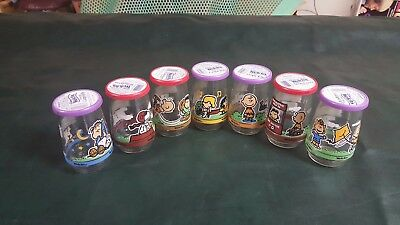 "FULL SET of 7 Welchs Peanuts Jelly Jars Glasses 4"" Tall 2 1/4"""
