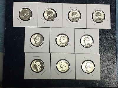 "10 TEN NEVER TOUCHED PROOF WASHINGTON QUARTERS 1980-S /</> 1989-S  /""BEST DEAL/"""