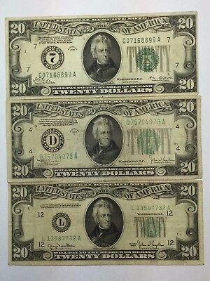 *LOT(3) 1928 1934 1950  $20 GREEN SEAL Federal Reserve Notes (FRN)