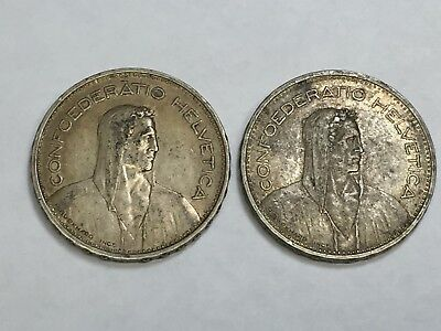 Two(2)  5 FRANC 1932-B Switzerland(Swiss) Silver Coins