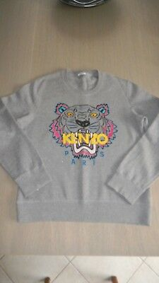 Sweat Pull Kenzo Unisexe Tigre Taille L Gris Lettres Jaune