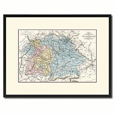 Southern Germany: Bavaria Wurttemberg Hesse Vintage Antique Map Wall Art Home De