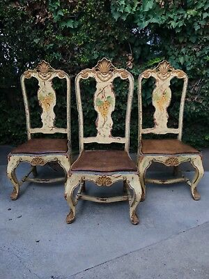 Antique Late 18c Italian Carved and Handpainted Chairs, Set of 3