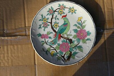Antique Chinese or Japanese hand painted porcelain wall hanging plate
