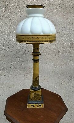 Antique Victorian Mustard Color Column Lamp With Glass Shade