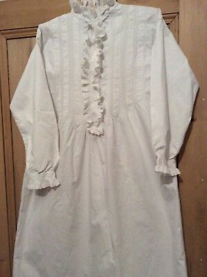 Antique Victorian Ladies Hand Embroidered Nightgown