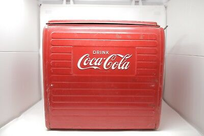 Vintage 1955 Coca Cola Cooler Mfg St Thomas Metal Sign Ice Chest