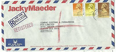 China Hong Kong registered airmail cover $11.50 rate to Australia 1988