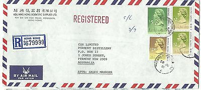 China Hong Kong registered airmail cover $11.30 rate to Australia 1991 (2)