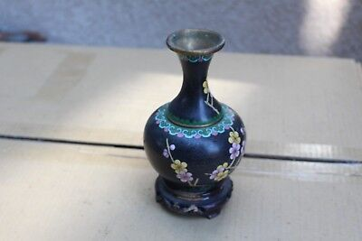 Antique Chinese Cloisonne Enamel floral brass Vase with stand