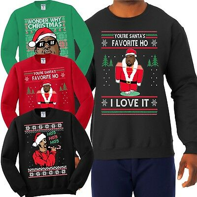 Hip Hop Fan Ugly Christmas Sweater Funny Snoop Kanye Biggie Rap Humor Sweatshirt